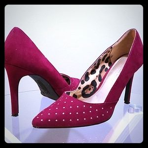 Christian Siriano plum suede heels with gold studs